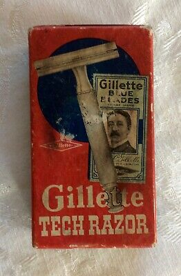 Vintage Gillette Tech Razor in box, gold color, fat handle, one blade inside