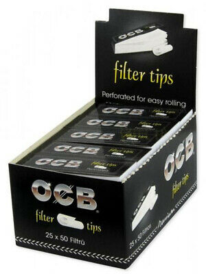 OCB Filter Tips perforiert | 25 Heftchen mit je 50 Tips | Inkl. Karton