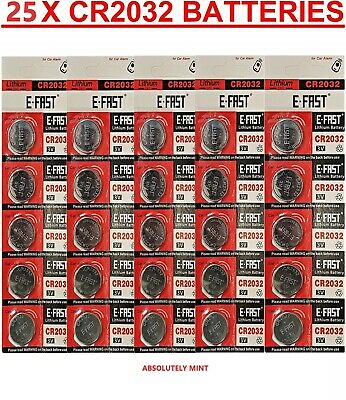 25 x CR2032 Battery BR2032 DL2032 Branded 3V LITHIUM Coin Cell Button Batteries