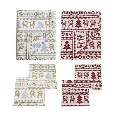 Christmas Nordic Napkins, Cotton, Reindeer Print Pack of 4