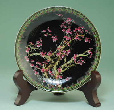 """old china Handwork famille-rose porcelain plum blossom dish """"include base"""" Aa02J"""