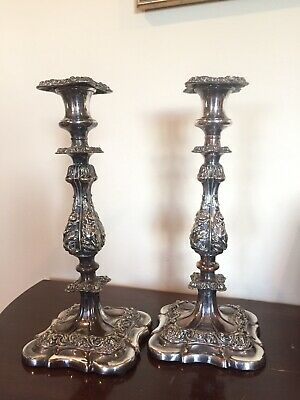 Pair Barker Ellis Repousse Candlestick Candle Holder Baroque Silverplate Signed
