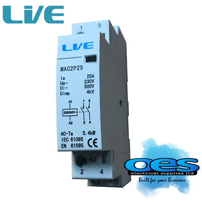 CONTACTOR 25 AMP 2 POLE AC 5.4kW NORMALLY OPEN HEATING LIGHTING DIN RAIL MOUNT