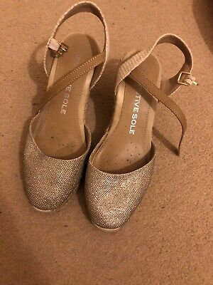 Old Worn Gold Espadrilles. Dirty But Will Clean Very Stained Heels.