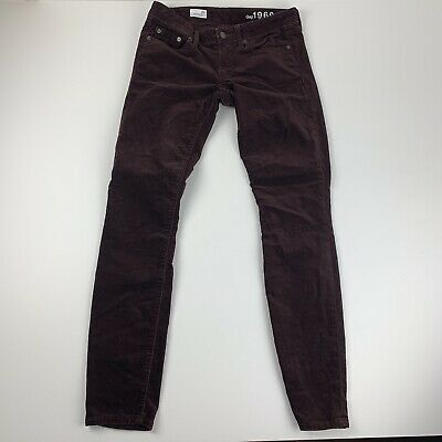 Gap Womens 26 Regular Brown Corduroy Pants Jeans Velvety Mid Rise Always Skinny