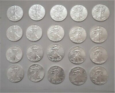 2014 American Silver Eagles 20 1Oz. Coins In Mint Tube Are All Bu