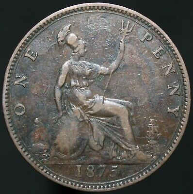 1875 | Victoria One Penny | Bronze | Coins | KM Coins