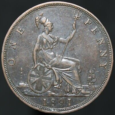 1891 | Victoria One Penny | Bronze | Coins | KM Coins