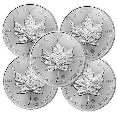 Lot of 5 - 2020 $5 Silver Canadian Maple Leaf 1 oz Brilliant Uncirculated