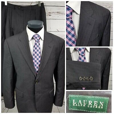 Ralph Lauren Suit Charcoal Gray Stripe 100% Wool 2 Button  42S - 32 x 27 Canada