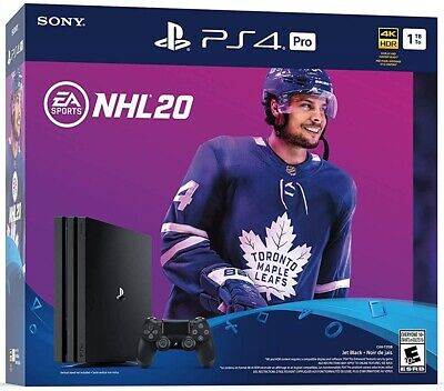 New In Box PLAYSTATION 4 PRO Console & NHL 20 Game Bundle Edition SEALED ( PS4 )