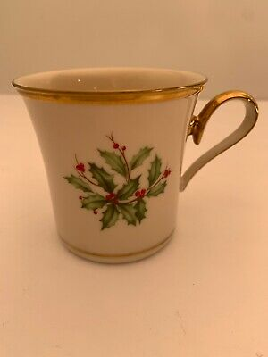 Lenox Dimension Collection Holiday HOLLY BERRY MUG with GOLD TRIM VGC