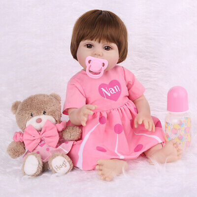 "18"" Lifelike Full Body Silicone Reborn Baby Dolls Vinyl Anatomically Xmas Gifts"