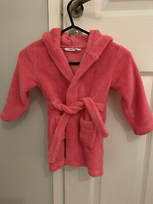 Pink Snuggly Dressing Gown With Hood Girls Aged 18-24 Months