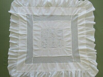 Antique PILLOW LAYOVER Ruffled White Cotton SOUTACHE Braid Embroidery