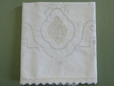 Antique Pillowcase Single Needle Lace & Elegant Cutwork Pale Blue and White
