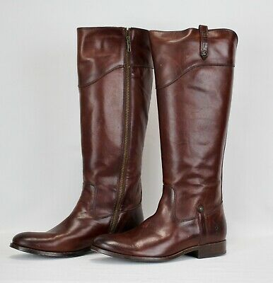 FRYE Mid Calf Chocolate Brown Leather Riding Boots 9.5 Zipper Closure
