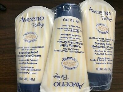LOT OF 3 ~ AVEENO Baby Soothing Relief Moisturizing Cream 5 oz each