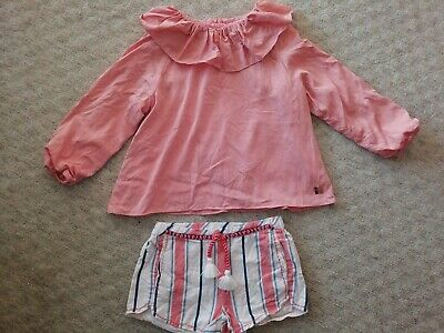 Carrement Beau Girls' Outfit Set Top And Shorts. Size 5 years