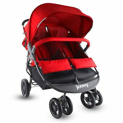 Joovy Twin Baby Stroller Double Stroller,Scooter X2 Boys Girls - Red