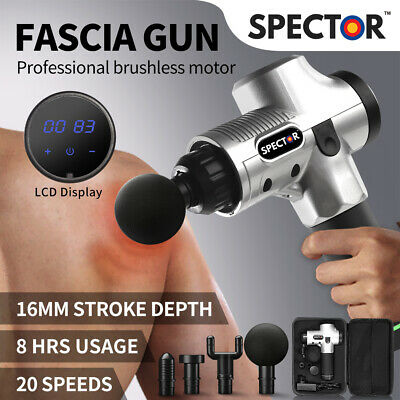Massage Gun Electric Massager Vibration Muscle Therapy 4 Heads Percussion Silver