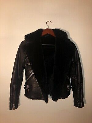 All Saints Leather Jacket Xs With Shearling Collar In Black