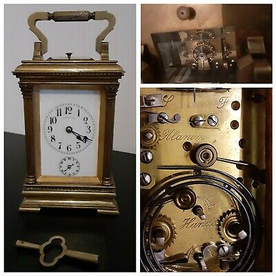Antique Tiffany Carriage Clock with Time, Alarm, Strike & Repeat w/ Key
