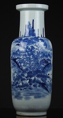 Large Fine Antique Chinese 19th C. Blue and White Landscape Rouleau Vase