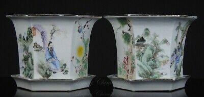 A Pair of Fine Antique Chinese Late Qing Republic Period Qianjiangcai Planters