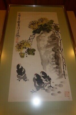 """Vintage Chinese Watercolor Painting Framed Birds & Mountain Signed 13.5x27"""""""