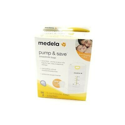 Medela Pump and Save Breast Milk Bags 50 Count With 2 Adapters
