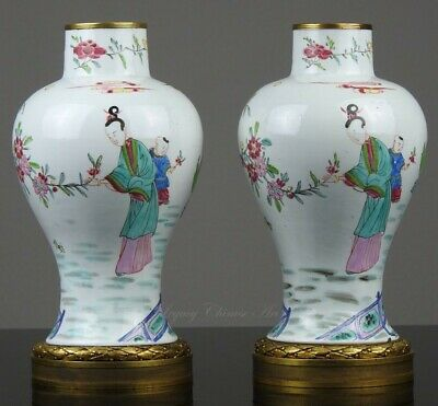 A Fine Pair of Antique Chinese Yongzheng Period Famille Rose Vases