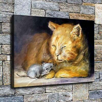 """12""""x16"""" Cat and Mouse Paints HD Canvas prints Home decor Room Wall art Pictures"""