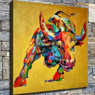"""12""""x12"""" Fighting State Cow HD Canvas prints Home decor Room Wall art Pictures"""