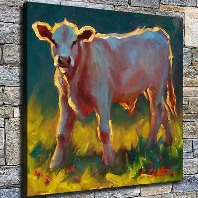 """12""""x12"""" Cow on the Prairie HD Canvas prints Home decor Room Wall art Pictures"""