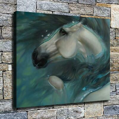 """12""""x16"""" Horse in the Water HD Canvas prints Home decor Room Wall art Pictures"""