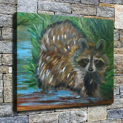 """12""""x16"""" Raccoon in Water Paint HD Canvas prints Home decor Room Wall art Picture"""