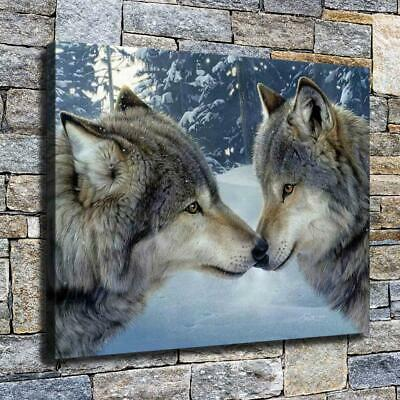 """12""""x16"""" Dear Two Wolves Paints HD Canvas prints Home decor Room Wall art Picture"""