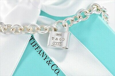 "Tiffany & Co 1837 Silver Padlock Lock Charm Necklace XL 18.5"" Chain +Box Pouch"