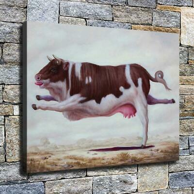 """12""""x16"""" Cow Standing on One Foot HD Canvas print Home decor Room Wall art Poster"""