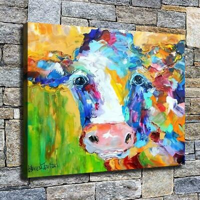 """12""""x16"""" Abstract Colored Cow HD Canvas prints Home decor Room Wall art Pictures"""