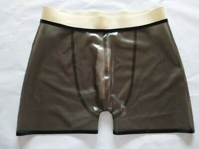 Hot Sale Latex Boxer Shorts Braun&Weiß Short Hose 100% Rubber Gummi Fixed Size S