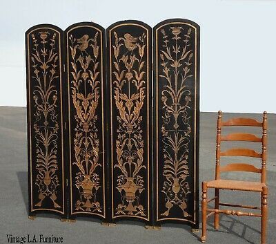 Vintage Oriental Asian Chinoiserie Four Panel Black Lacquer Screen Room Divider