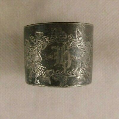 Vintage Silver Plate napkin ring on ball feet engraved