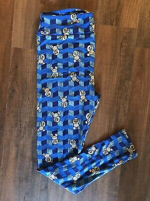TC Lularoe Leggings Disney Frozen Snowgies Blue Chevron 3D Block
