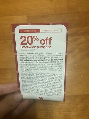 Target 20% Off Coupon Valid From 12/3-12/14/19! CHECK EXCLUSIONS!