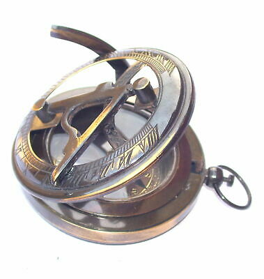 Vintage Brass Sundial Compass Antique Pocket Push Button Nautical Compass Gift