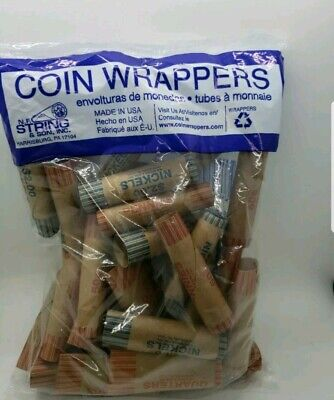 2 pack36 Preformed Coin Wrapper Rolls Paper Tubes Quarters Nickels Dimes Pennies
