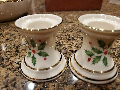 2 LENOX HOLIDAY Dimension Collection CANDLE HOLDERS - GOLD TRIM