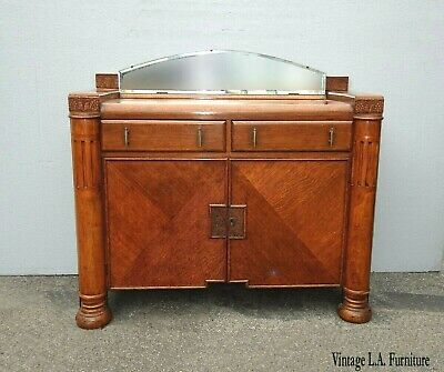 Antique Art Deco Oak Sideboard Server Waterfall Edge with Side Cabinet & Mirror